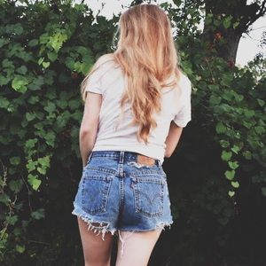 Distressed Levi's 550 Cut Off Mom Jean Shorts
